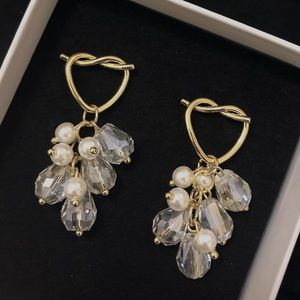 Gold crystal earring,silver